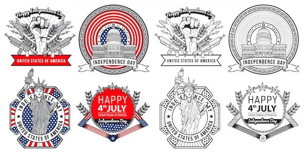 Diseño de etiqueta y logotipo de ilustración de saludo de día de la independencia de julio estados unidos Vector Premium