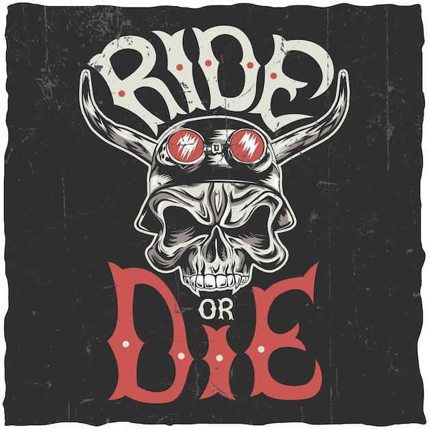 Diseño de etiqueta de paseo o muerte con cráneo enojado dibujado a mano en la ilustración de casco de motocicleta vector gratuito