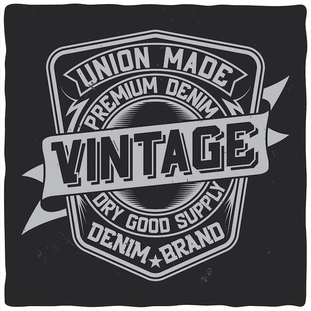 Diseño de etiqueta vintage con composición de letras en la oscuridad vector gratuito