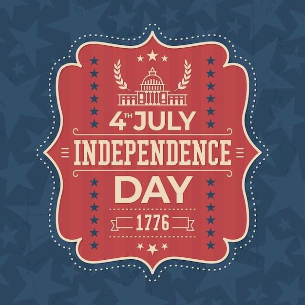 Diseño de etiqueta vintage del día de la independencia de estados unidos vector gratuito