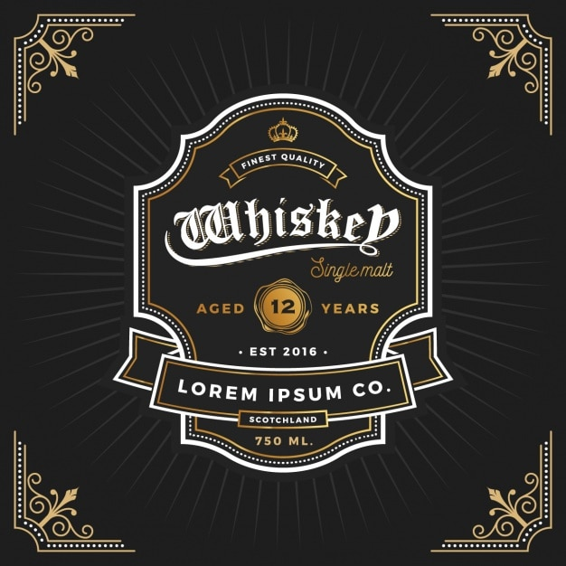 Diseño de etiqueta de whiskey vector gratuito