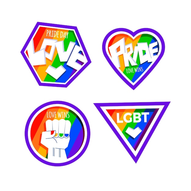 Diseño de etiquetas de celebración del día del orgullo vector gratuito