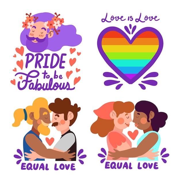 Diseño de etiquetas para celebrar el día del orgullo vector gratuito