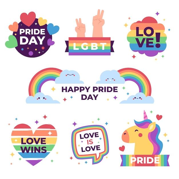 Diseño de etiquetas para el día del orgullo vector gratuito