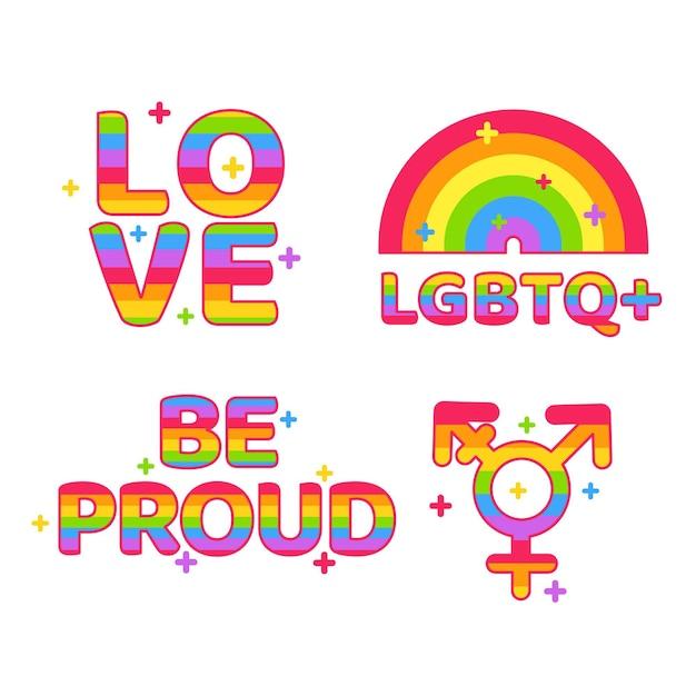 Diseño de etiquetas del día del orgullo vector gratuito