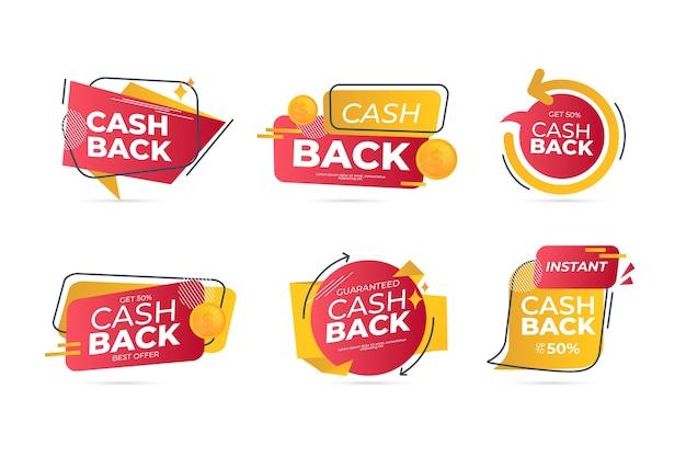Diseño de etiquetas de reembolso con oferta vector gratuito