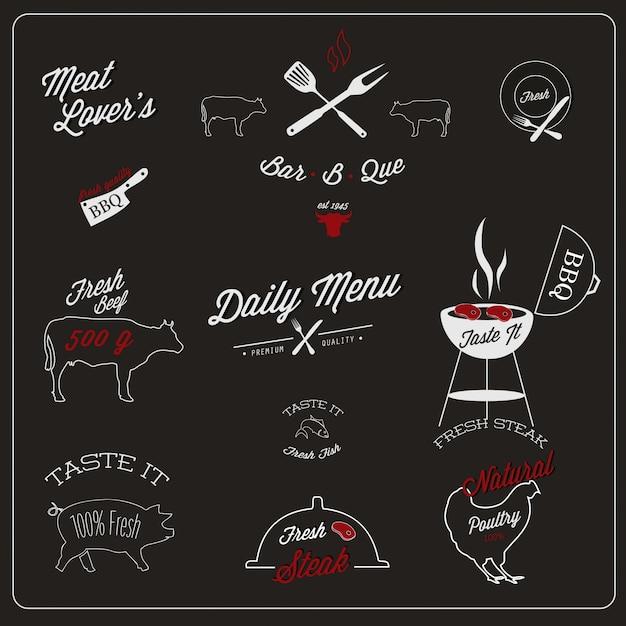 Diseño de etiquetas de restaurante vector gratuito
