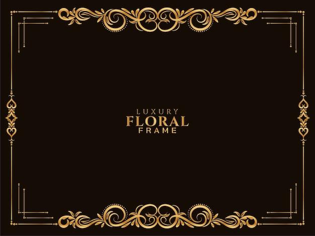 Diseño étnico de lujo marco floral dorado Vector Premium
