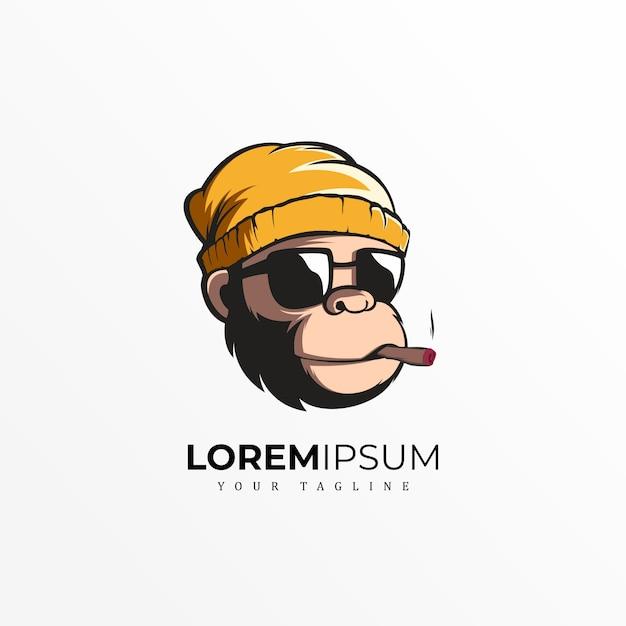 Diseño exclusivo del logotipo del mono premium Vector Premium