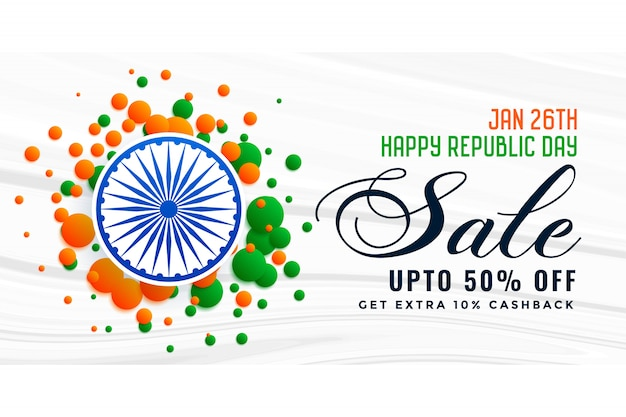 Diseño feliz de la bandera de la venta de la india del día de la república vector gratuito