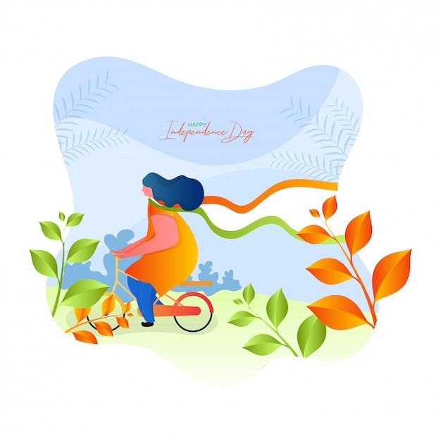 Diseño feliz del cartel de la celebración del día de la independencia con la ilustración de una mujer que monta la bicicleta en fondo de la visión de la naturaleza. Vector Premium