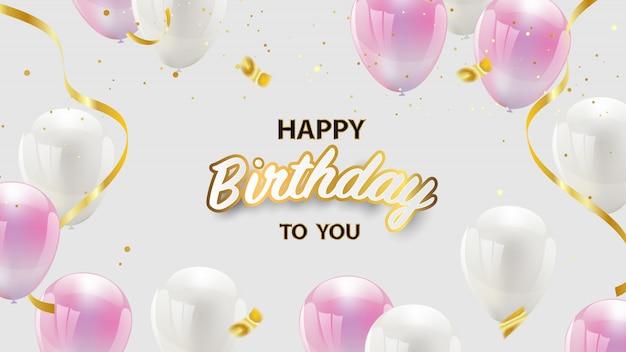 Diseño de feliz cumpleaños con globos de color rosa y blanco, confeti y cintas doradas. tarjeta de felicitación de lujo rica. Vector Premium