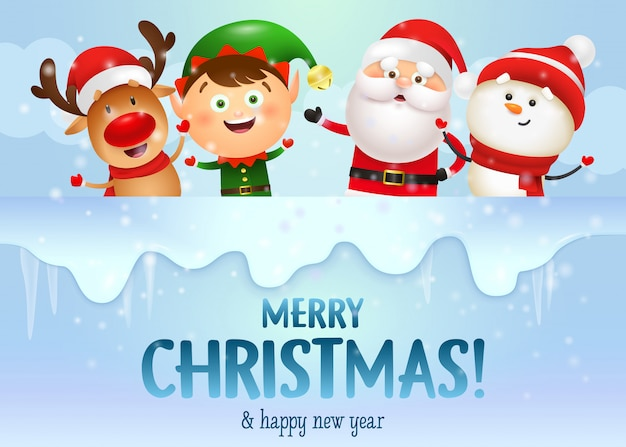 Diseño feliz navidad con alegre santa y sus amigos vector gratuito