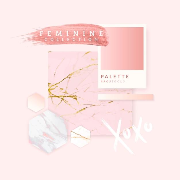 Diseño femenino color rosa. vector gratuito