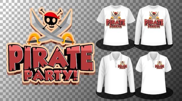 Diseño de fiesta pirata con conjunto de camisetas diferentes. vector gratuito