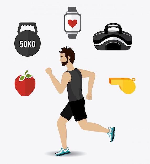 Diseño de fitness Vector Premium