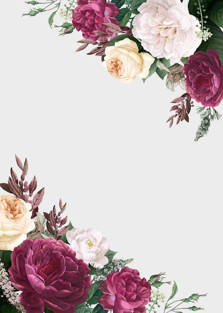 Diseño floral boda invitación maqueta vector gratuito