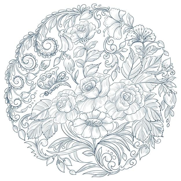 Diseño floral circular mandala decorativo vector gratuito