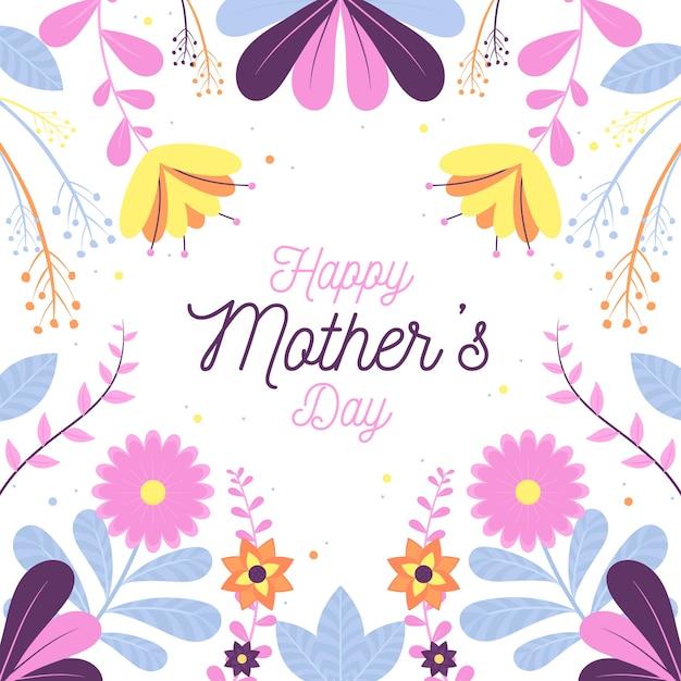 Diseño floral del día de la madre vector gratuito