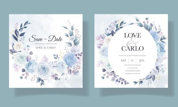 Diseño floral elegante de la invitación de la boda del dibujo de la mano vector gratuito