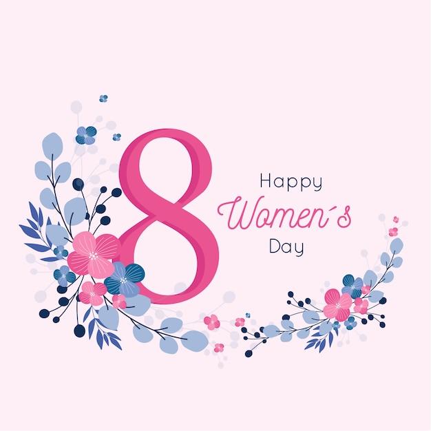 Diseño floral de feliz día de la mujer para el 8 de marzo Vector Premium