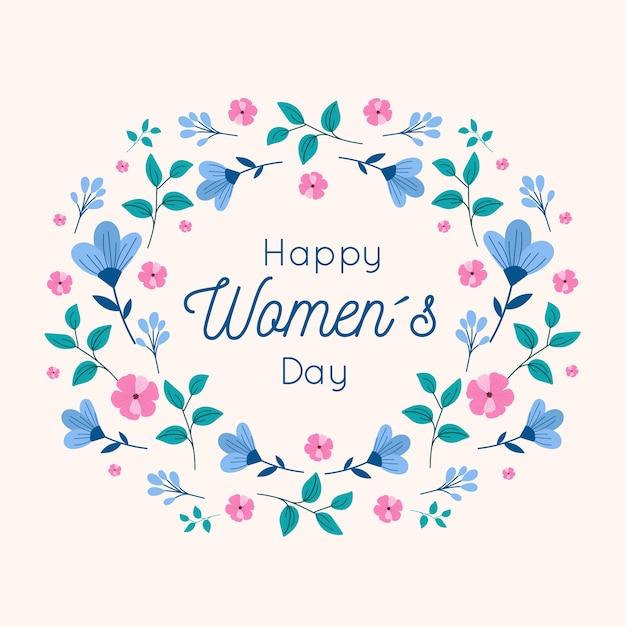 Diseño floral de feliz día de la mujer vector gratuito