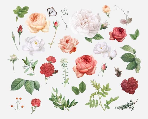 Diseño floral de fondo vector gratuito