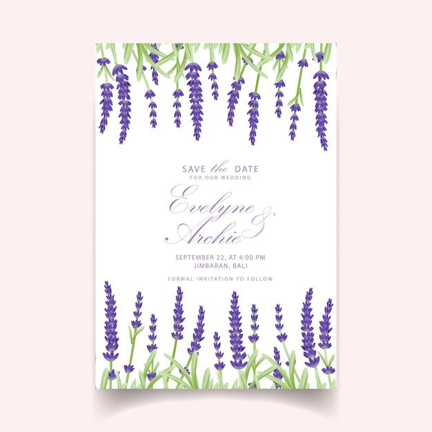 Diseño floral de la plantilla de la tarjeta de la invitación de la boda con las flores de la lavanda. Vector Premium