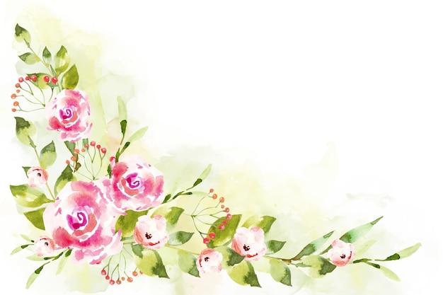 Diseño de flores de acuarela para papel tapiz vector gratuito