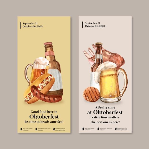 Diseño de flyer con concepto oktoberfest, cerveza y comida. vector gratuito