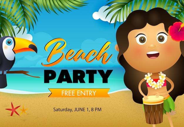 Diseño de flyer fiesta de playa. niña hawaiana tocando el tambor vector gratuito