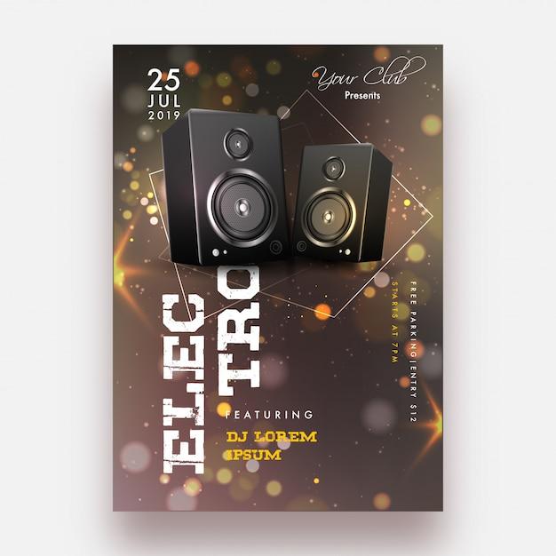 Diseño de flyer fiesta. Vector Premium