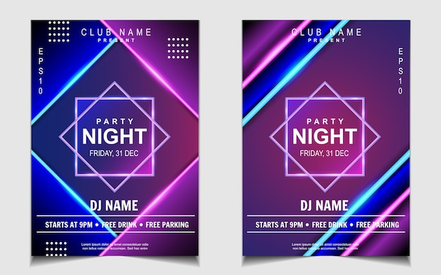 Diseño de flyer o cartel de música de fiesta de baile de noche de luz de neón colorida Vector Premium