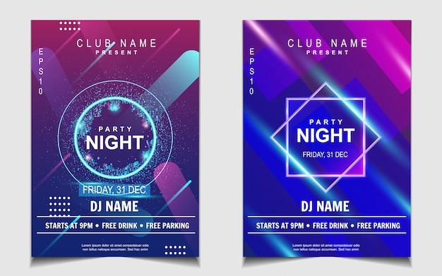 Diseño de flyer o póster de música de fiesta de baile nocturno Vector Premium