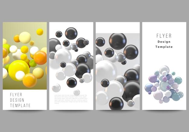 Diseño de flyer, plantillas de banner para diseño publicitario de sitios web, diseño de flyers verticales, decoración de sitios web. fondo futurista abstracto con coloridas esferas 3d, burbujas brillantes, bolas. Vector Premium