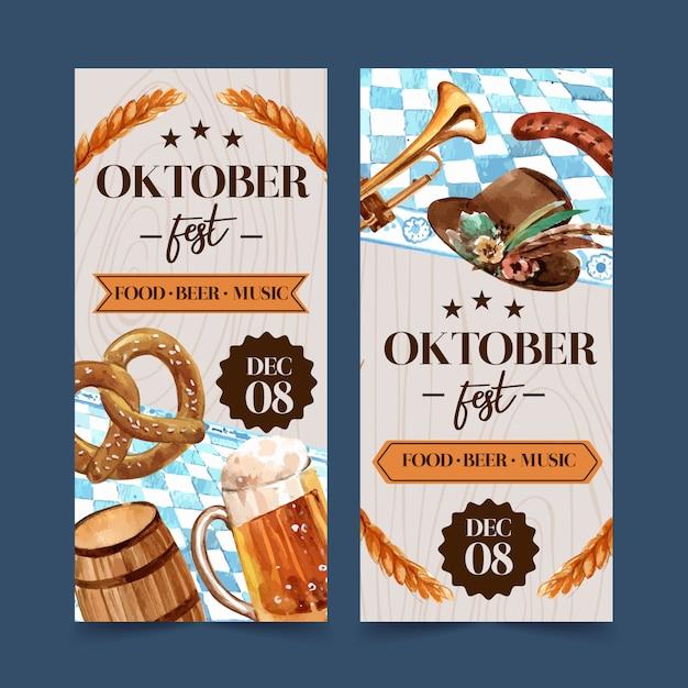 Diseño de flyer de pretzel, trigo, cerveza y sombrero tirolés vector gratuito