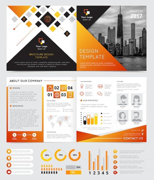 Diseño de folleto de la empresa con símbolos de progreso plano aislado ilustración vectorial vector gratuito