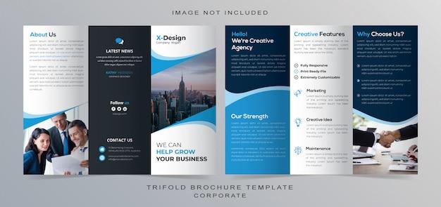 Diseño de folleto tríptico corporativo Vector Premium