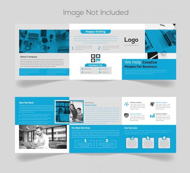 Diseño de folleto tríptico cuadrado simple Vector Premium