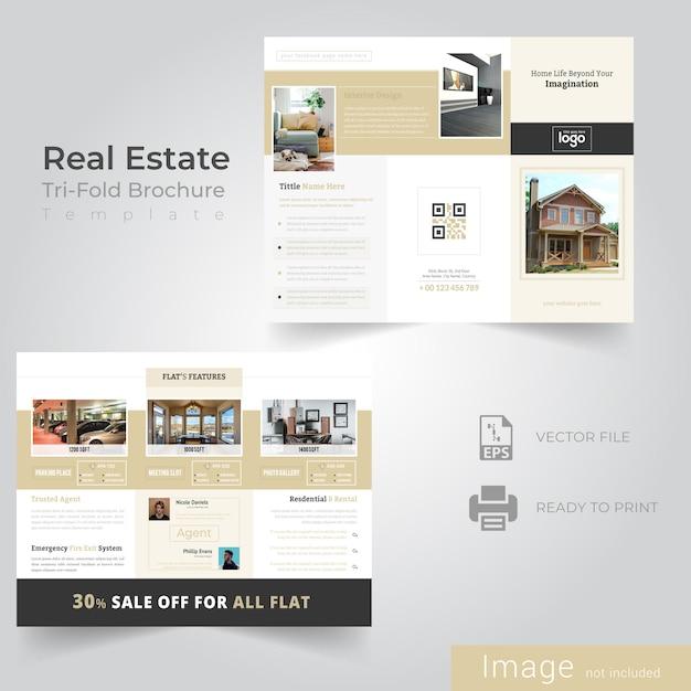Diseño de folleto tríptico para empresa inmobiliaria Vector Premium