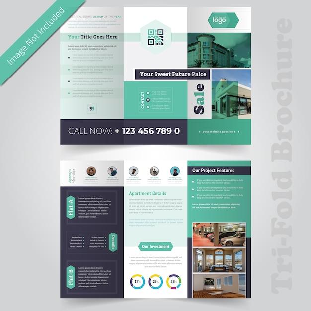 Diseño de folleto tríptico inmobiliario Vector Premium