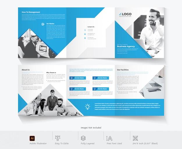 Diseño de folleto tríptico. negocio corporativo Vector Premium