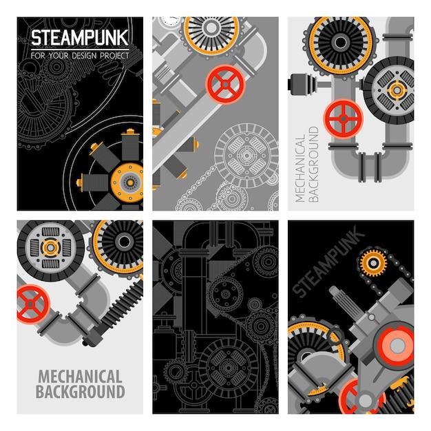 Diseño de folletos de piezas de maquinaria vector gratuito