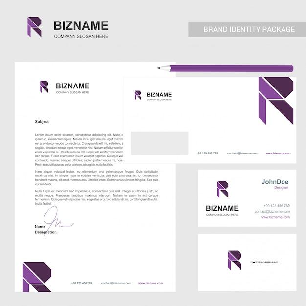 Diseño de folletos con tarjeta de empresa y estacionario con logo r Vector Premium