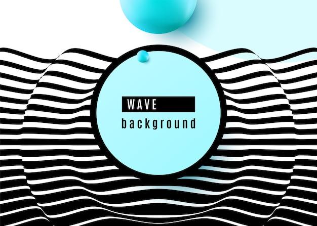 Diseño de fondo abstracto con rayas blancas y negras superficiales onduladas, forma de esfera azul, círculo, marco. arte pop de movimiento óptico 3d. vector gratuito