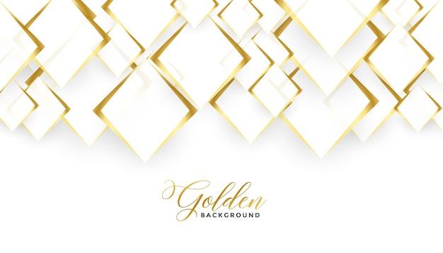 Diseño de fondo blanco y dorado de formas de diamante vector gratuito