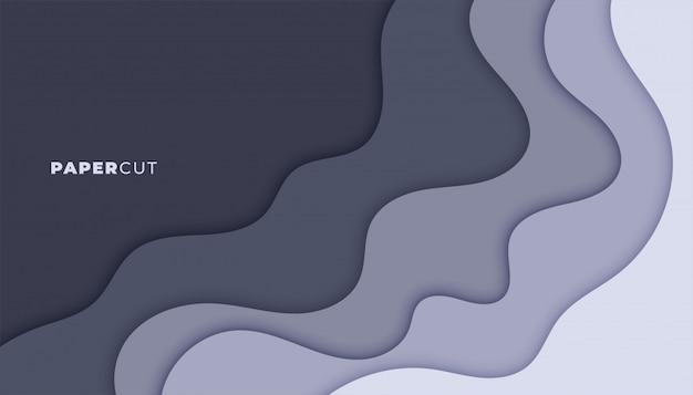 Diseño de fondo de capas de estilo de papercut gris abstracto vector gratuito