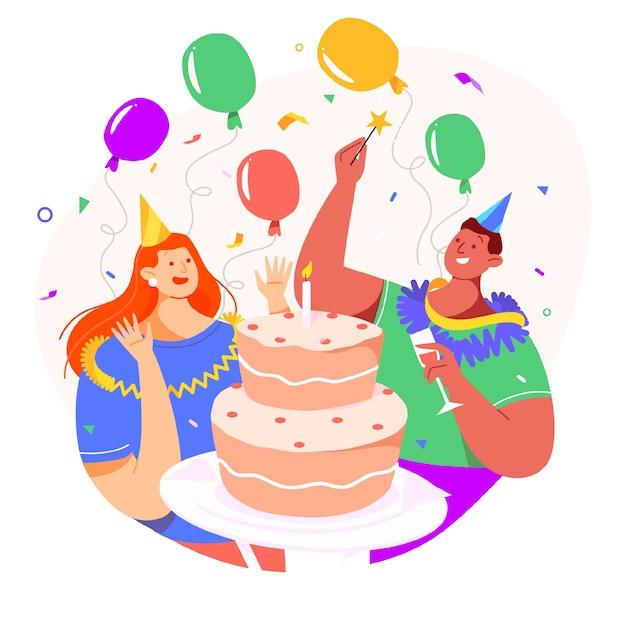 Diseño de fondo de celebración de cumpleaños vector gratuito