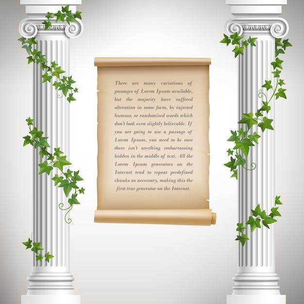 Diseño de fondo de columnas griegas vector gratuito
