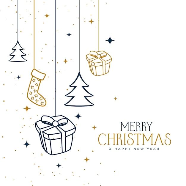 Diseño de fondo decorativo feliz navidad dibujado a mano vector gratuito